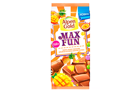 Alpen Gold MAX FUN манго, ананас, маракуйя, взрывная карамель и шипучие шарики (Альпен Гольд МАКС ФАН)