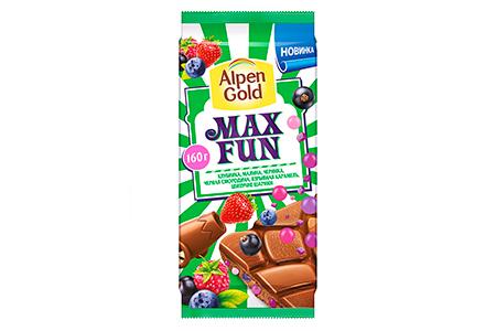 Alpen Gold MAX FUN  клубника малина черника черная смородина взрывная карамель шипучие шарики