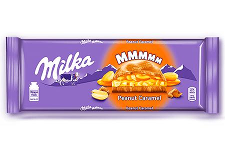 Милка молочный с арахисом в карамели (Milka Peanut Caramel) 276г, 37г