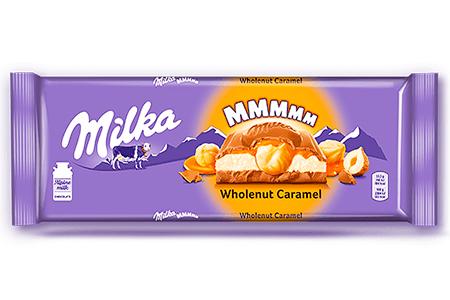 Милка с молочной и карамельной начинками и цельным фундуком (Milka MMMMM Wholenut Caramel) большая 300 г