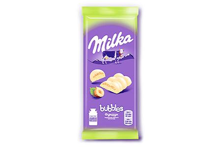 Белый пористый шоколад Milka с фундуком (Милка)