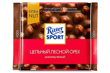 Ritter Sport extra Nut (Риттер Спорт Экстра цельный лесной орех) темный и молочный с фундуком