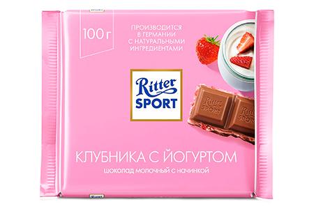 Ritter Sport клубника с йогуртом (Риттер Спорт) розовый