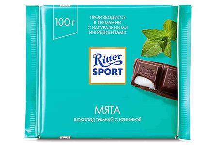 Ritter Sport с мятой (Риттер Спорт мятный) темный