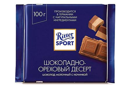 Риттер Спорт шоколадно-ореховый десерт (Ritter Sport) синий
