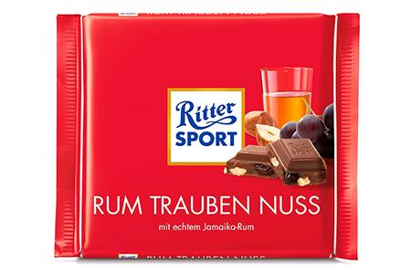 Ritter Sport ямайский ром, изюм, орех (Риттер Спорт с алкоголем)