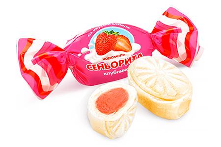 Карамель Сеньорита клубника от Konti со вкусом сливок