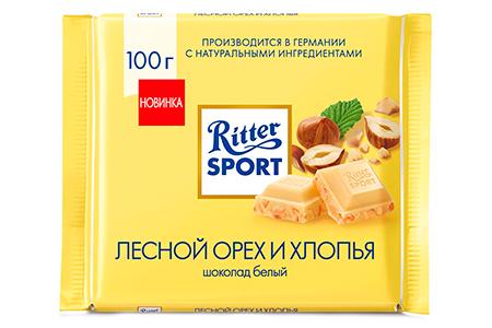 Белый шоколад Ritter Sport лесной орех и кукурузные и рисовые хлопья (Риттер Спорт)