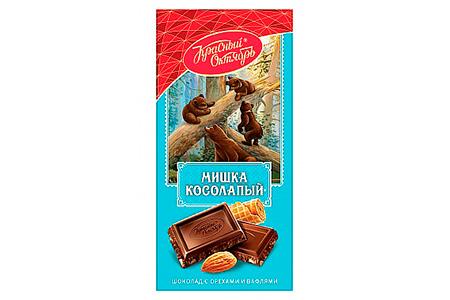 Темный шоколад Мишка Косолапый с орехами и вафлями (Красный Октябрь)