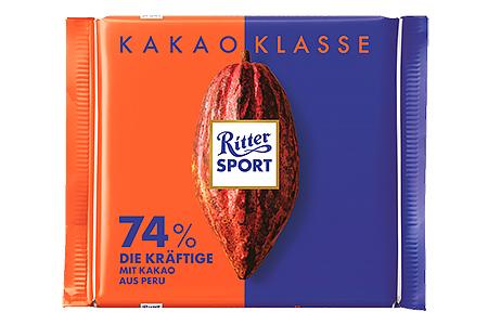 Ritter Sport 74% Extra Cocoa с насыщенным вкусом из Перу (Риттер Спорт Экстра Какао) горький темный